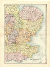 1890 ANTIQUE MAP - ENGLAND & WALES, SECTION 3, SOUTH EAST, KENT,SUSSEX,NORFOLK