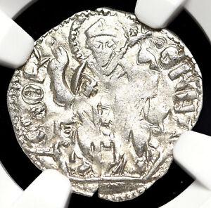 ITALY, Aquileia. Bertrando, 1334-50, Silver Denaro, NGC AU58