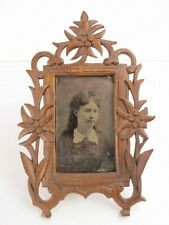 Antique carved folk art floral wood small Cdv photograph or print frame tintype