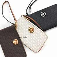 New Michael Kors Fulton Large Wristlet Signature PVC Canvas