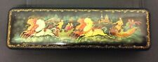 """RUSSIAN BLACK LACQUER BOX - 2 HORSE DRIVEN CARRIAGES - 8"""" LONG"""