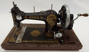 Vintage JONES Sewing Machine Mechanical With Wooden Carry Case - BA6