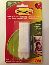 COMMAND 17207 Narrow Picture/Poster/Canvas Hanging Strips Pk4 Holds up to 5.4kg