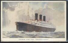 Postcard ANCHOR LINE STEAMSHIP  T.S.S. TRANSYLVANIA Posted at Sea 1920's