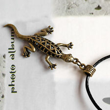 Antique Bronze Hollow Lizard Animal Pendant Necklace with Black Leather Cord