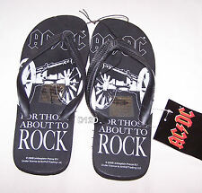 ACDC For Those About To Rock Mens Black Printed Thongs Size 8 New