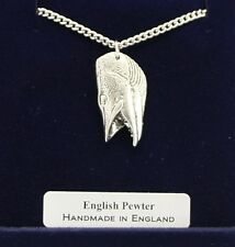 Pike's Head Pendant Necklace English Pewter Handmade Gift Boxed Fishing