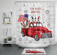 American Independence Day Shower Curtain Truck Gnomes Bathroom Accessory Sets