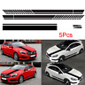 5pcs Black Stripe Graphic Decal Trim Sticker For Car Hood Side Door Mirror Decor