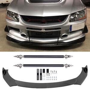 For Mitsubishi Lancer Evo X Carbon Fiber Front Bumper Lip Splitter + Strut Rods