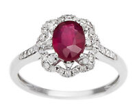 White Gold 1.40ct Genuine Ruby and Halo Diamond Ring (G-H, I1-I2)