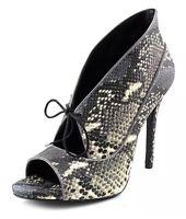Pour La Victoire Vika High Heel Pumps Open Toe Leather Snake Print Grey 9.5 $275