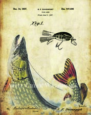 Fishing Lure Patent  Poster Art Print 11x14 Vintage Northern Pike Fish  PAT432