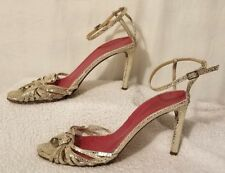 KATE SPADE Metallic Silver Dot Print Leather Strappy High Heel Shoes 8 Italy