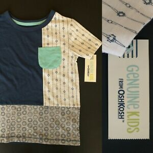 Genuine Kids by OshKosh Boys New With Tag 4T Pocket Top Striped Graphic Cotton
