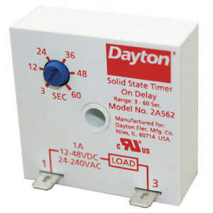 DAYTON 2A562 Timing Relay,24 to 240VAC,12 to 48VDC,1A