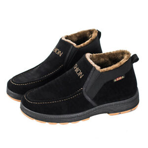 Winter New Fashion Men's Flat Warm Shoes Non-Slip Pointed Toe Boots Oversize