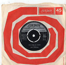 """Roy Orbison - Too Soon To Know / You'll Never be Sixteen Again 7"""" Single 1966"""