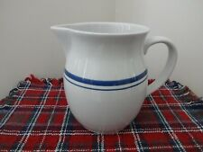 Home Ceramic Pitcher White with Blue Stripes