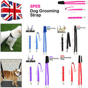 3PCS DOG GROOMING HARNESS STRAP NOOSE RESTRAINT BELLY PAD 5 COLOURS UK