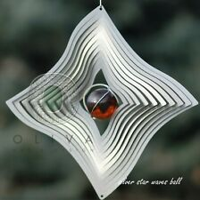 Stainless Steel Wind Spinner, silver star waves ball, 12 Inch, New
