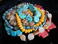 2 Pound LOT OF MIXED SEMI-PRECIOUS COLORFUL GEMSTONE BEADS FOR JEWELRY MAKING