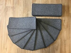 """CARPET STAIR PADS/TREADS, TOP QUALITY WOOL, 14 @ 20""""x8"""", MID GREY"""