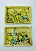 Lefton Japan Set of Kitchen Wall Plaques Turquoise Chartreuse Fruit Wine #4690