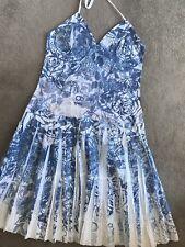 Firetrap Blanc & Bleu En Coton Brodé Dos-nu Robe D'été UK Med 12