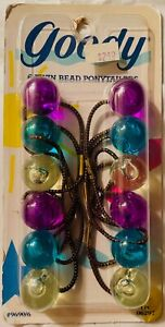 1989 Goody 6 large Twin Bead ponytail holders Ponytailers Vintage 9690 NEW NOS