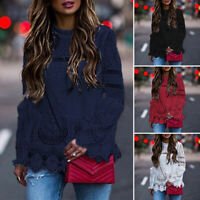 Women Loose Casual Plus Size Bell Sleeve Shirt Hollow Out Lace Up Top Blouse Tee