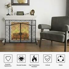 New Wrought Iron Fireplace Screen With Double Doors Spark Guard Mesh Black Home