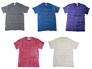 Multicolor Stripe Short Sleeve T-shirt Adult S - 3X 100% Cotton Gildan Colortone