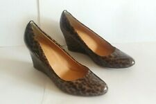 J. Crew Women's Martina Black Brown Leopard Print Patent Leather Wedge Size 7.5