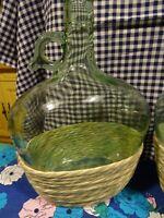 art populaire sud=belle   bouteille verre vert  ancienne,, poignet  verre  3L