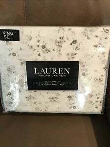 NWT RALPH LAUREN KING FLORAL CHIC COTTAGE DAISY TAUPE BROWN GREY GRAY SHEET SET