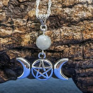 Wicca Triple Moon Handmade Silver Tone Pendant With Labradorite Bead Necklace