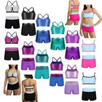 Kids Girls Tankini Outfit Gymnastics Sport Ballet Dance Leotard Workout Costumes