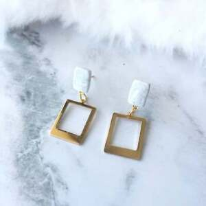 Handmade Rectangle Hoop with Polymer Clay Hypoallergenic Surgical Steel Earrings