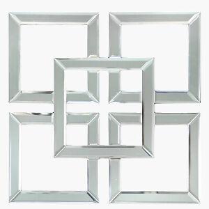Geometric Mirror Wall Art Modern Living Room Furniture 40x40 Square Glass Frame