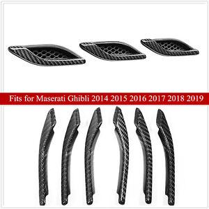 For Maserati Ghibli 2014 -2020 Carbon Fiber Look Side Air Vent Fender Cover Trim