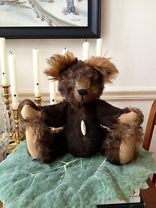 """ANTIQUE MOHAIR JOINTED TEDDY BEAR HUMP BACK GLASS EYES ARTISAN One of Kind 14"""""""