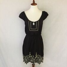 Anthropologie Lilka Sz S Lightweight 100% Cotton Dress Black W/White Embroidery