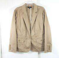 TALBOTS jacket blazer cotton stretch one button casual preppy woman plus 18W