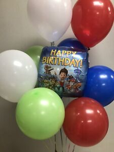 PAW PATROl Mylar Happy Birthday And 8 Pcs Latex Balloons
