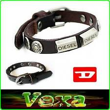 New DIESEL Genuine Leather Bracelet Dark Brown Bangle Wristband Mens Surfer BD12