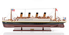 "Titanic Painted Large Wooden Handmade Model Ship 40"" Long"