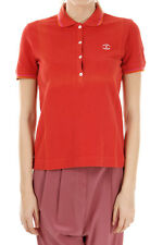 JUST CAVALLI New Woman Red Short Sleeve Polo T-shirt Button Tee 100% Cotton Sz S