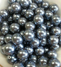 100pcs 20mm Dk Gray/Silver Pearl beads Chunky Bubblegum Beads US Seller