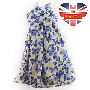 Womens Long Butterfly Summer Animal Print Scarf Light Soft Scarves Shawl
